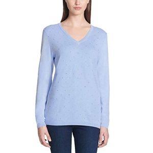 DKNY Jeans  Rhinestone Embellished V-Neck Sweater